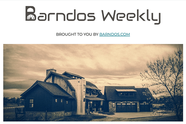 <!-- wp:paragraph --> <p>Thousands of people subscribe to Barndos Weekly to learn how to build affordable barndominiums.</p> <!-- /wp:paragraph -->