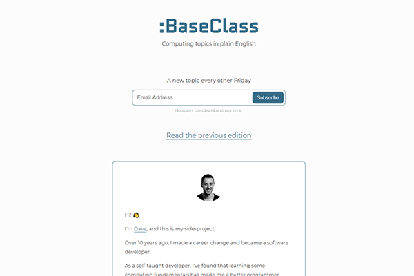 BaseClass chooses one fundamental computing topic and explains it in under 5 minutes.