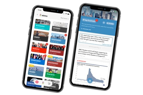 <p>Mobile newsletter covering tech, business, and politics to your tastes.</p>