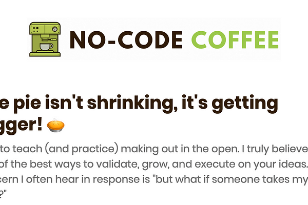 No-Code Coffee is a daily newsletter that introduces you to a new #nocode tool ⚡, person  , and product   every morning by sending you an email with links to each.