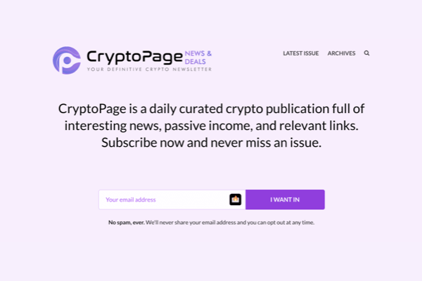 <!-- wp:paragraph --> <p>CryptoPage is a daily curated crypto publication full of interesting news, passive income, and relevant links. Subscribe now and never miss an issue.</p> <!-- /wp:paragraph -->