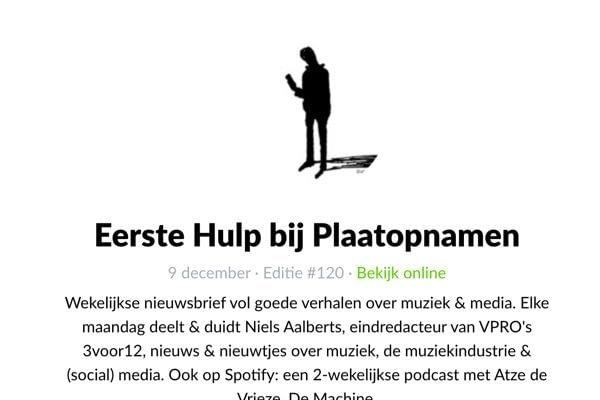 <p>Wekelijkse nieuwsbrief vol goede verhalen over muziek & media van de eindredacteur van VPRO's 3voor12</p>